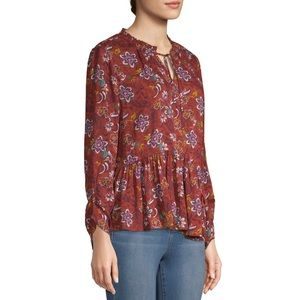 NWT Time and Tru Rust Orange Floral Peasant Top